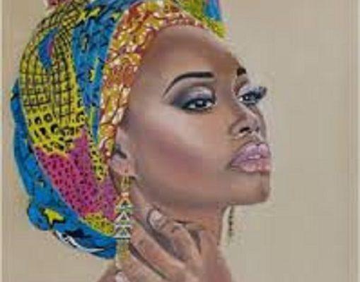 Une peinture illustrant une femme africaine