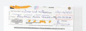 Le chèque émis par le Groupe Business Marketing (GBM) d'Antonio Souaré au Commissaire Fabou Camara
