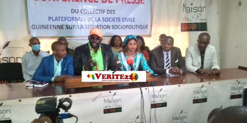 Des membres du Collectif des plateformes de la société civile