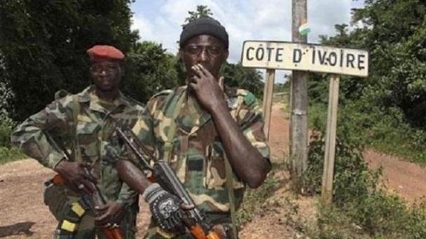 Des militaires à la frontière guinéo-ivoirienne