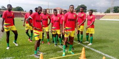 Des joueurs du Syli national local lors d'un entraînement au stade du 28 septembre