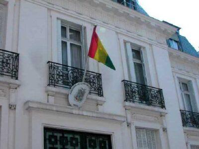 A l'entrée de l'ambassade de Guinée à Bruxelles