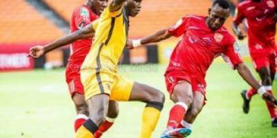 Des joueurs de Horoya AC lors d'un match contre Kazer Chiefs, un club sud-africain